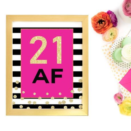 21st Birthday Party Decorations For Girls Turning 21-Printable Sign #21stbirthdaysigns