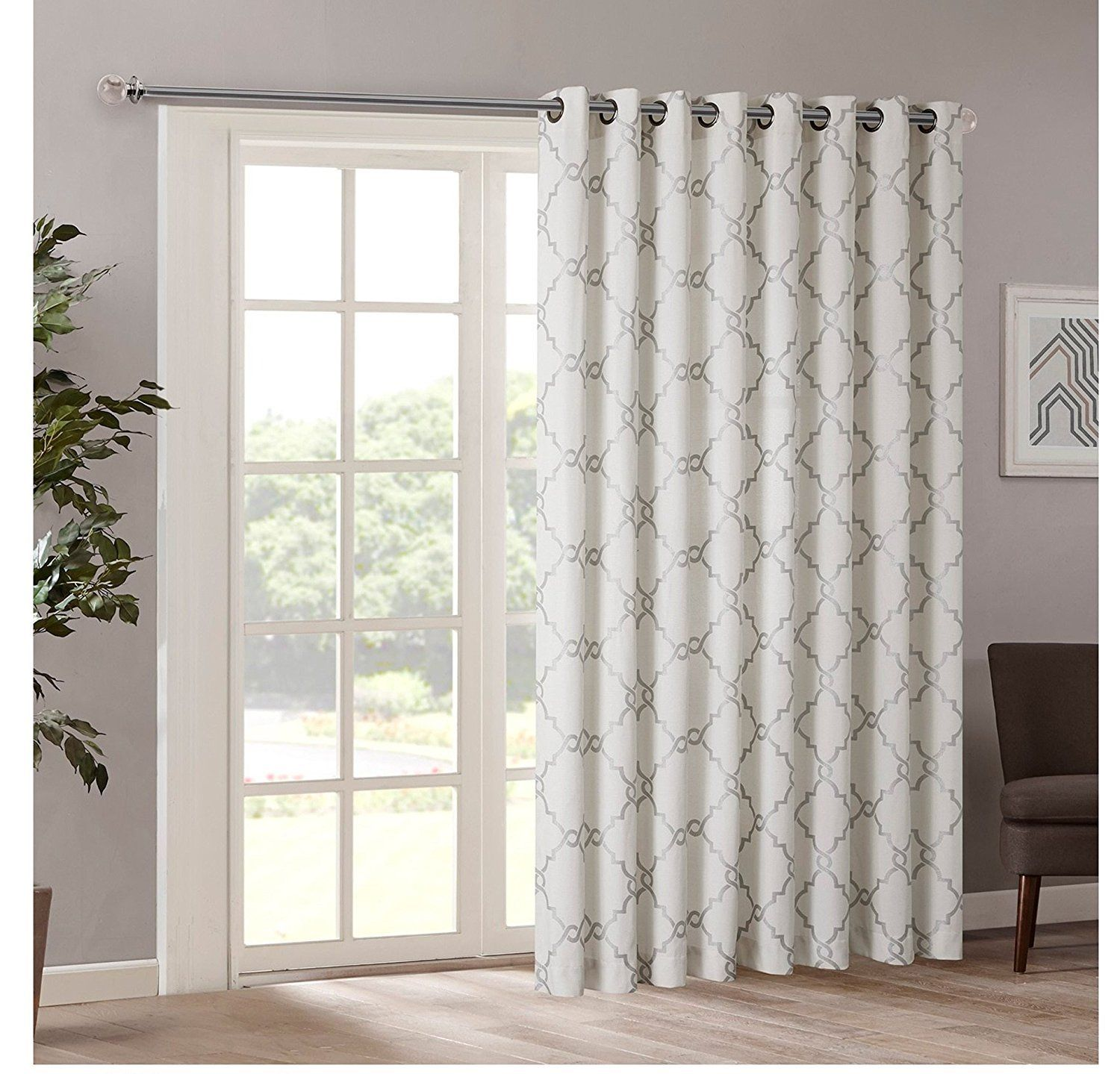 84 Inch Ivory Color Geometric Sliding Door Curtain Silver Sliding