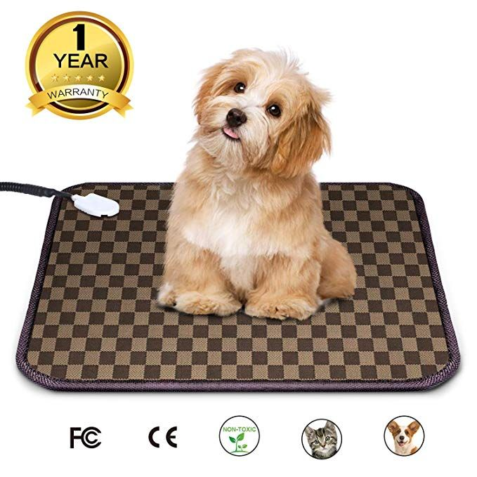 Pet Heating Pad Warming Bed Outdoor Auto Off Cat Dog Electric Heated Mat With Ul Adapter And Chew Resistant Steel Cord 18 X