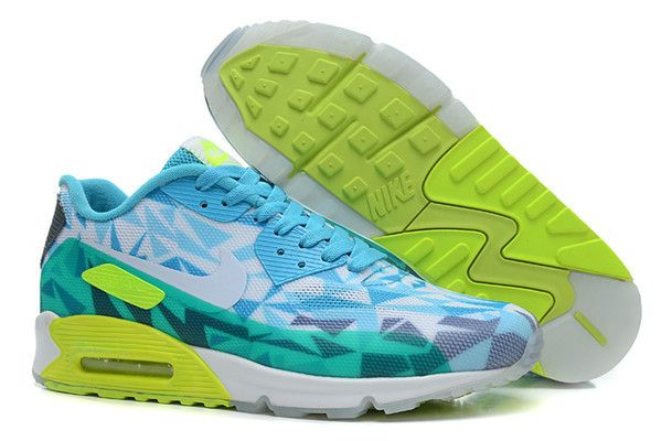 separation shoes 6e4e1 e32ca Nike Air Max 90 Hyperfuse Premium Blue Dark Green Apple Green Mens Shoes -  Click Image to Close