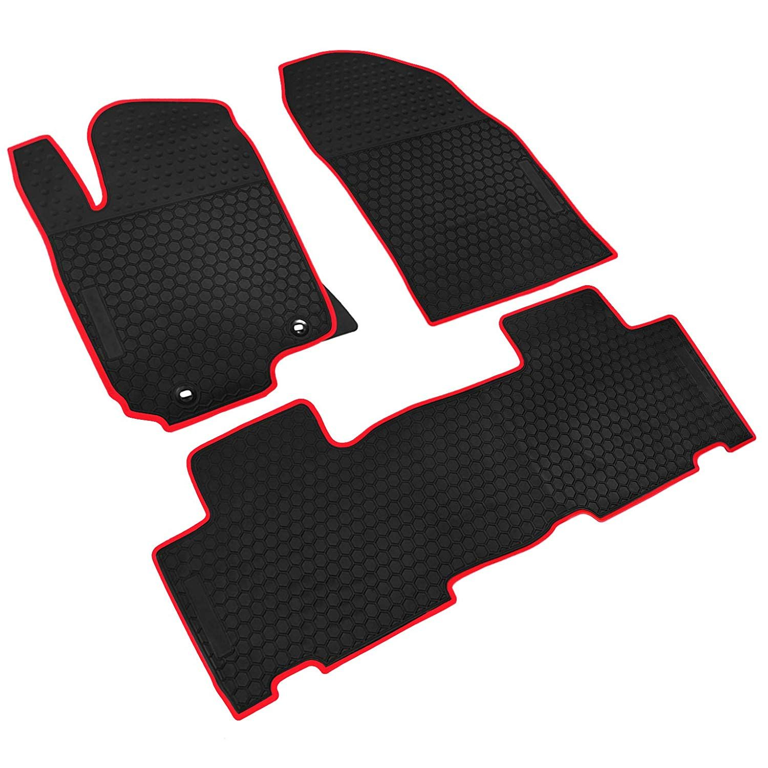Tan Black Intro-Tech Hexomat Front Row Custom Fit Floor Mat for Select Dodge Ram Promaster Models Rubber-Like Compound