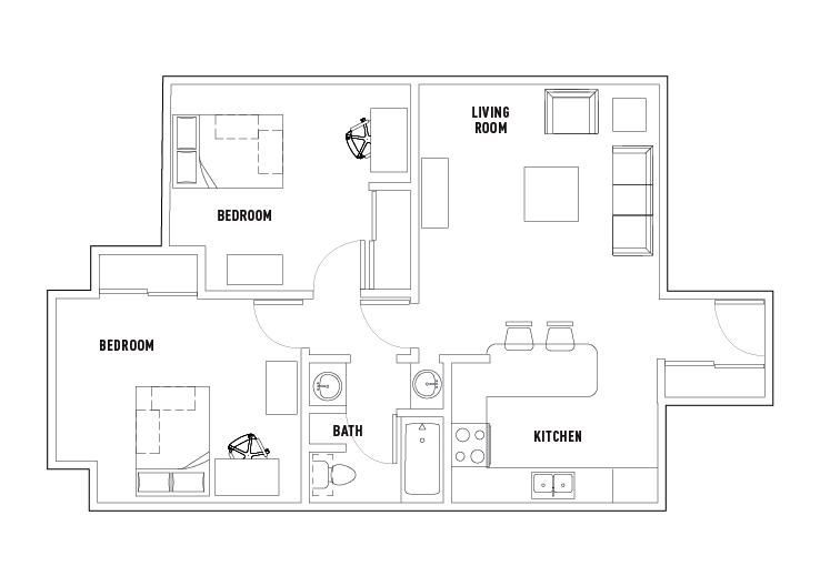 2 Bed 1 Bath University Village Towson Student Housing Towson Md Towson Student Apartment Student House