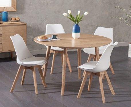 Super Nordic 120Cm Round Oak Dining Table With Duke Faux Leather Creativecarmelina Interior Chair Design Creativecarmelinacom