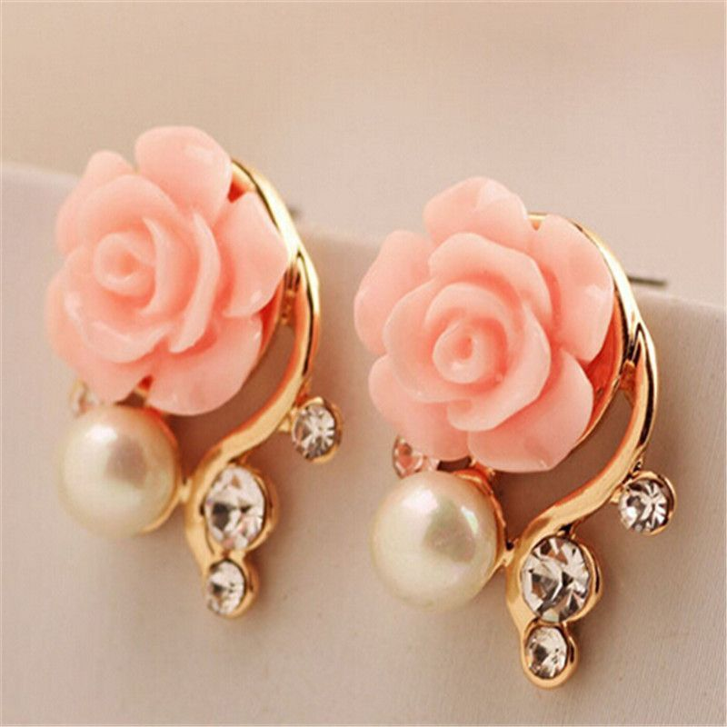 Jewelry New Brand Design Gold Plated Rose Pearl Stud Earrings For Women New Accessories Flower Earrings Studs Lovely Earrings Stud Earrings