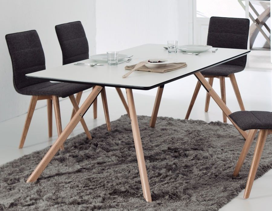 Table à manger scandinave blanche et bois JARED | Table de salle à ...