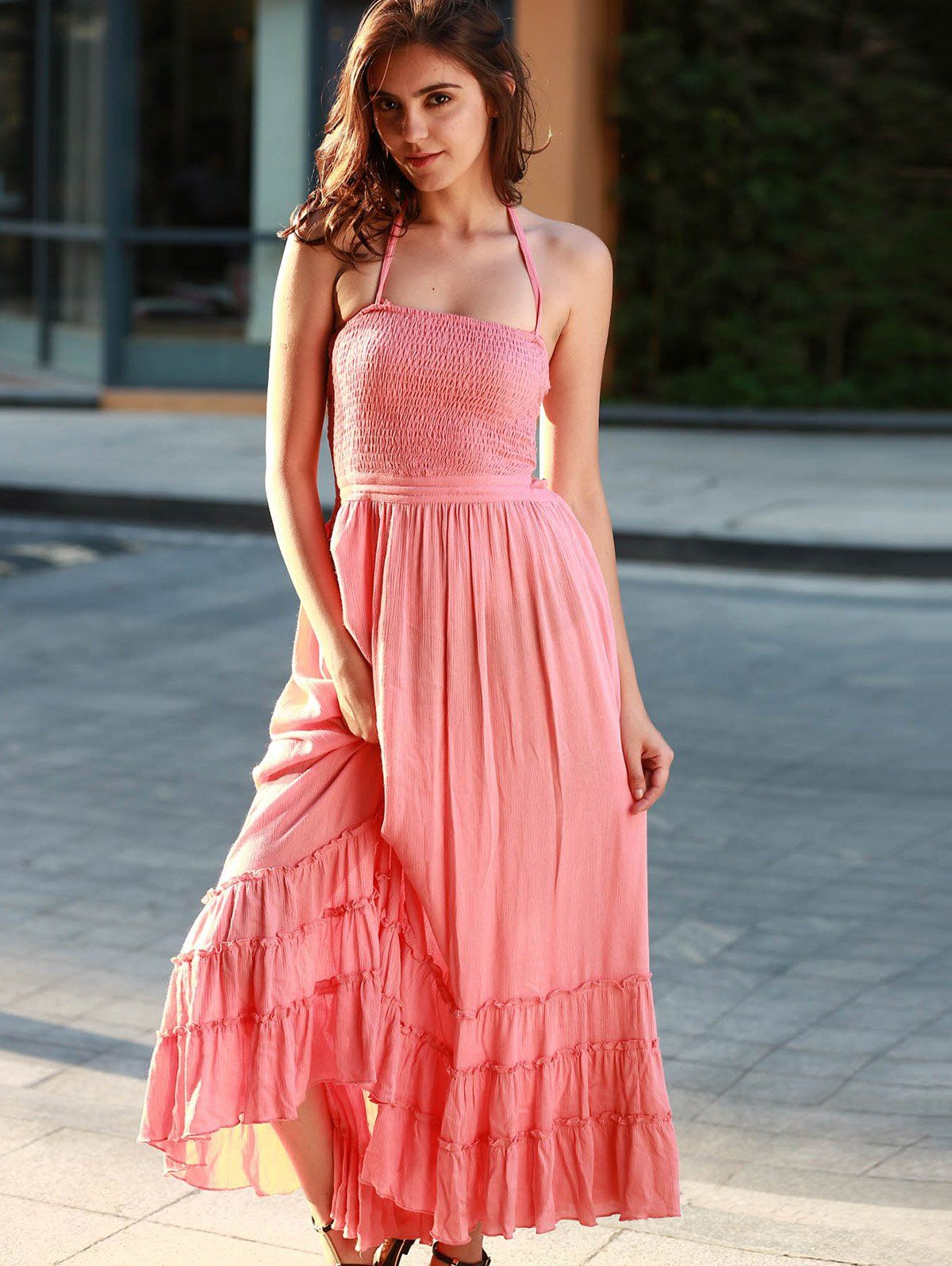 Peach Color Open Back Dress