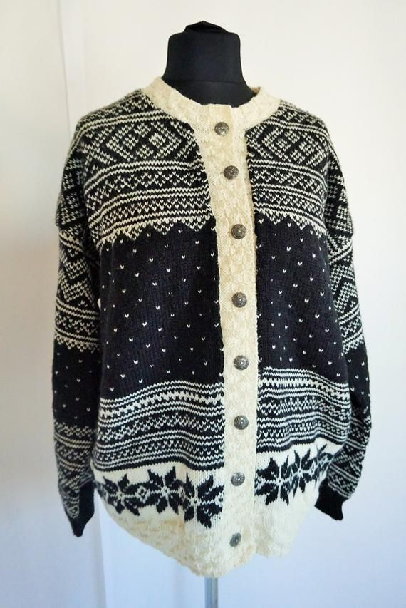 a40ffd3f199 Vintage Norwegian Sweater   Norway pure wool   Women   Men   Buttons down    Large   L   Nordic   Sca