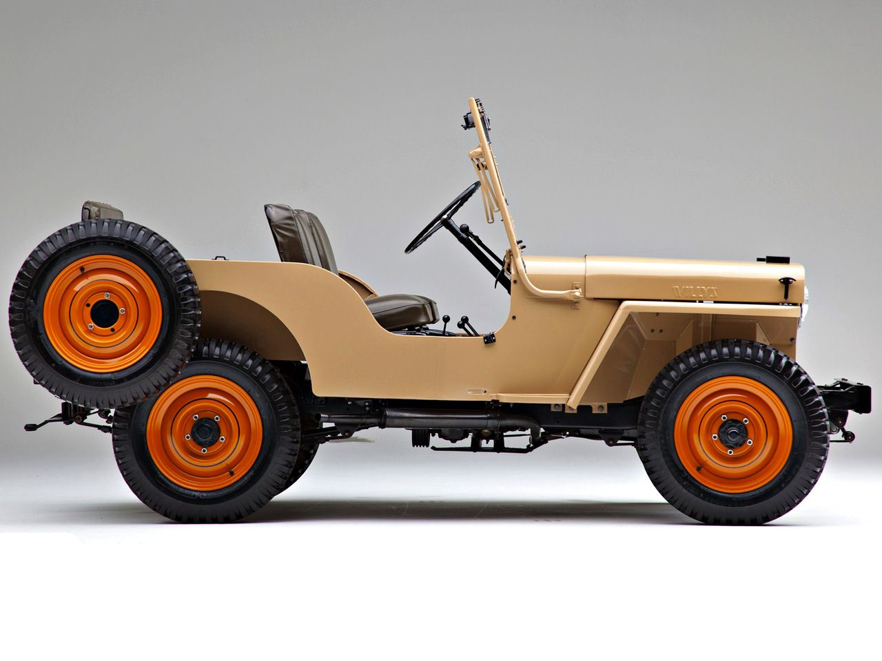 Side Profile Of Willys Overland Jeep Cj 2a Shown In Harvest Tan