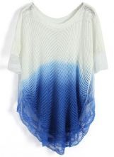 Blue Gradient Hollow Batwing Half Sleeve Sweater