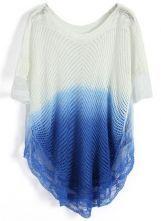Blue Gradient Hollow Batwing Half Sleeve Sweater