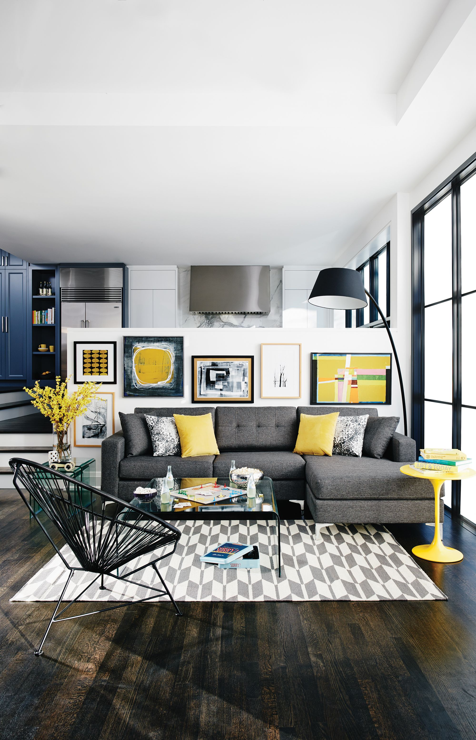 Pops Of Yellow Home Interiors With Images Living Room Grey