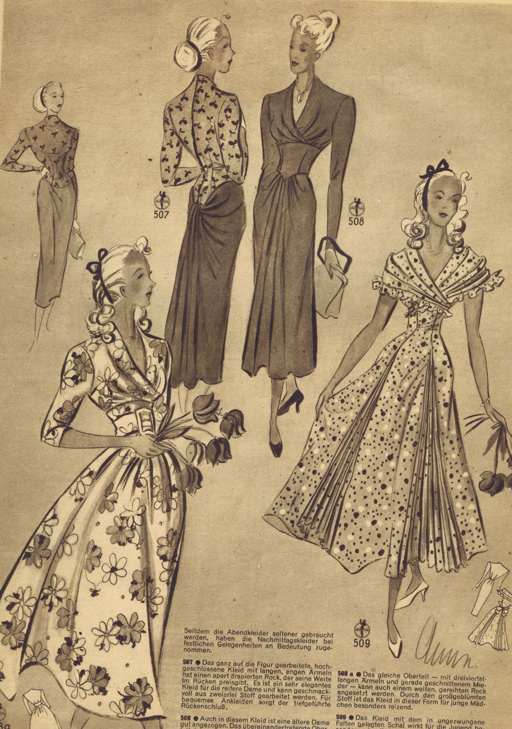 FREE Vintage 1940s Sewing Patterns German Die Alma Mode | Dress ...