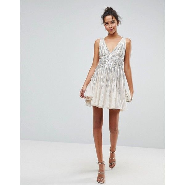 ASOS Sparkle Embellished Skater Mini Dress (153 CAD) ❤ liked on Polyvore  featuring dresses e9b7e570b