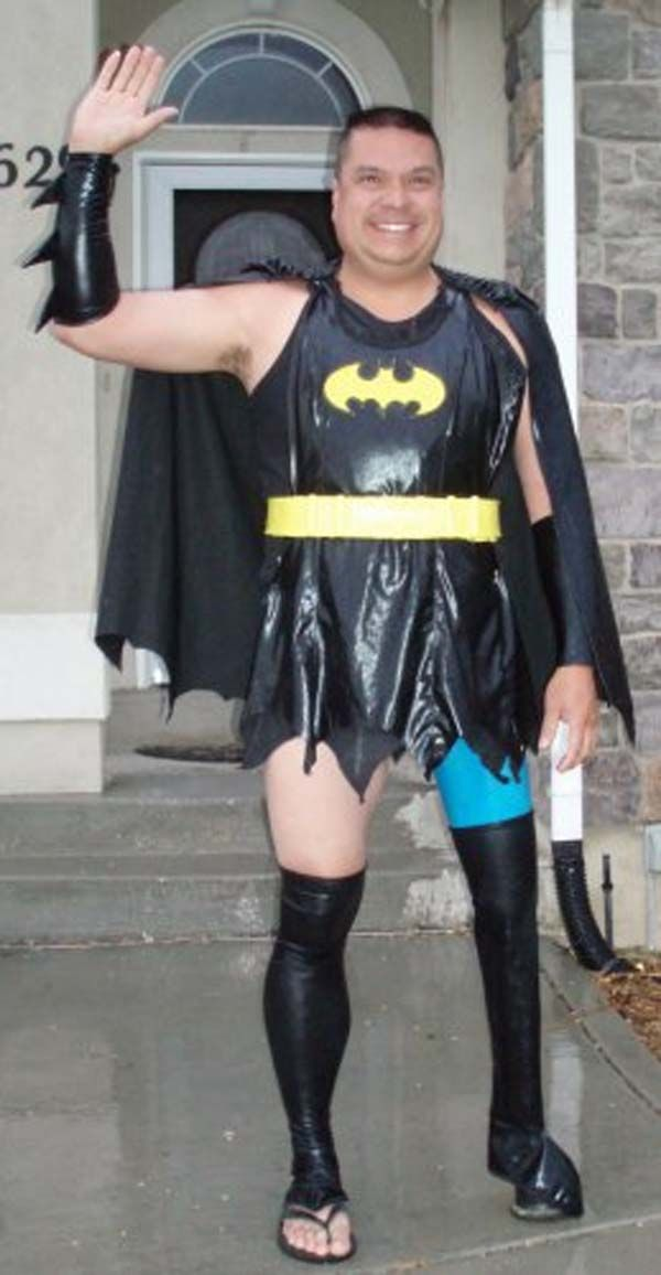 Awesome Dad Dresses Up In Outfits To Embarrass His Son Funny Costumes Batman Costume Awkward Photos