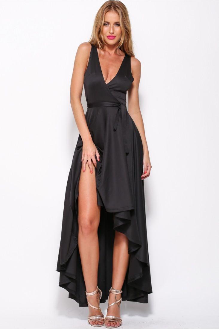 Wrap deep v neck maxi black dress style pinterest wraps