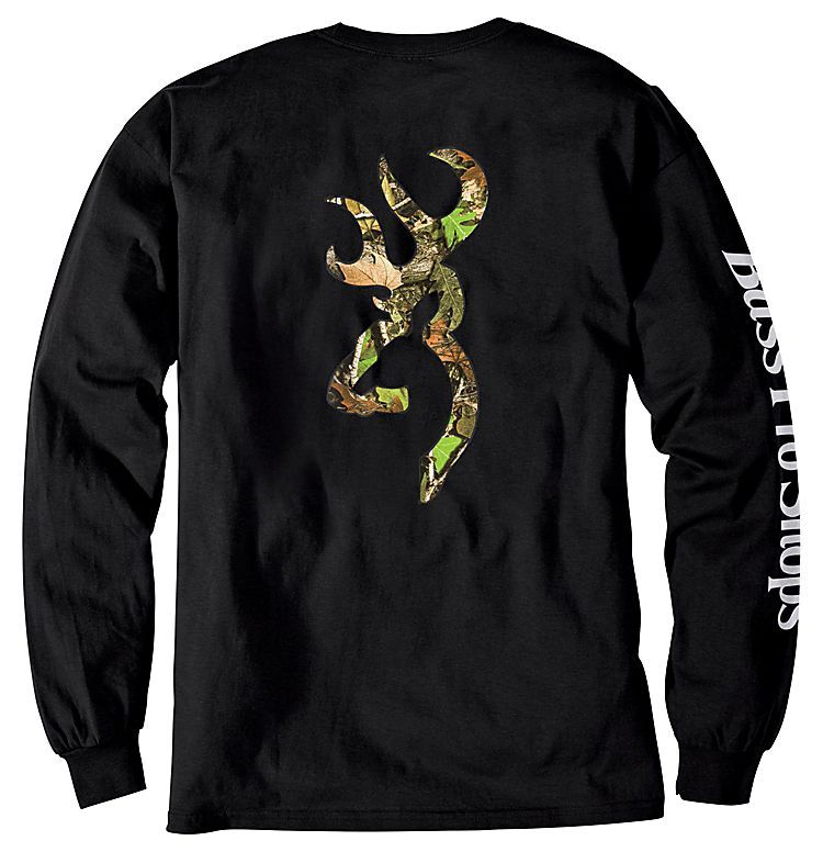 Bass pro shops browning camo buckmark t shirt for men for Bass fishing hoodies