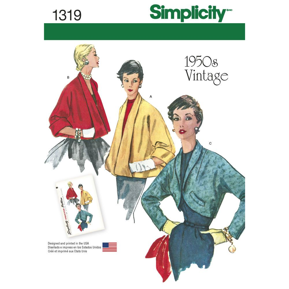 Vintage 1950s jackets feature cut-in sleeve; front and back, views A and B collar turns back full-length of jacket and forms pocket. Below the elbow, sleeves fold to cuff. View C is shorter, fitted with shawl collar and welt trim on front. Simplicity sewing pattern.