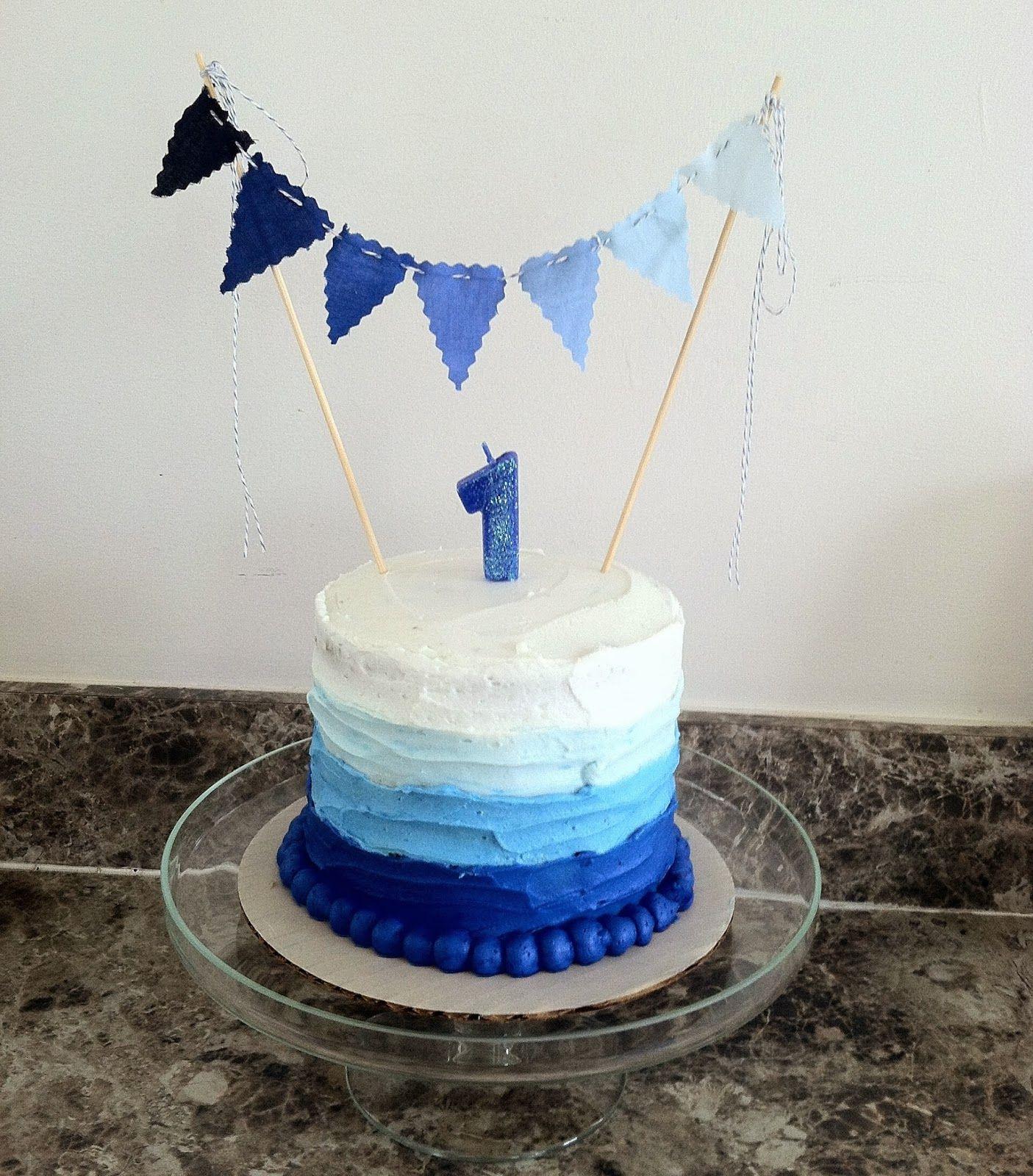 Instagram @reederandco - The Coen & Beau Show- 1st birthday Smash Cake-blue ombré