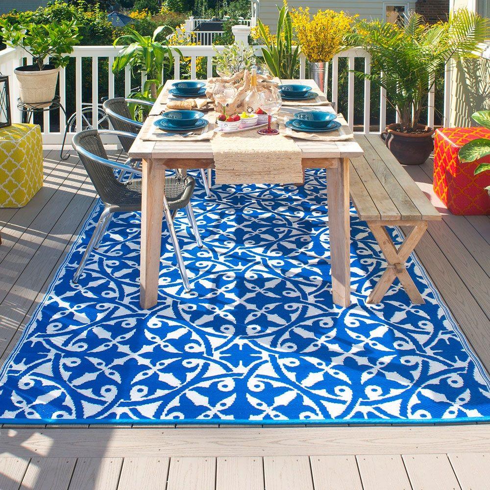 fab hab san juan outdoor rug in dark blue | outdoor rugs