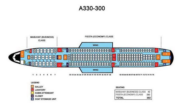 A330 300 Seat Map PHILIPPINE AIRLINES AIRBUS A330 300 AIRCRAFT SEATING CHART