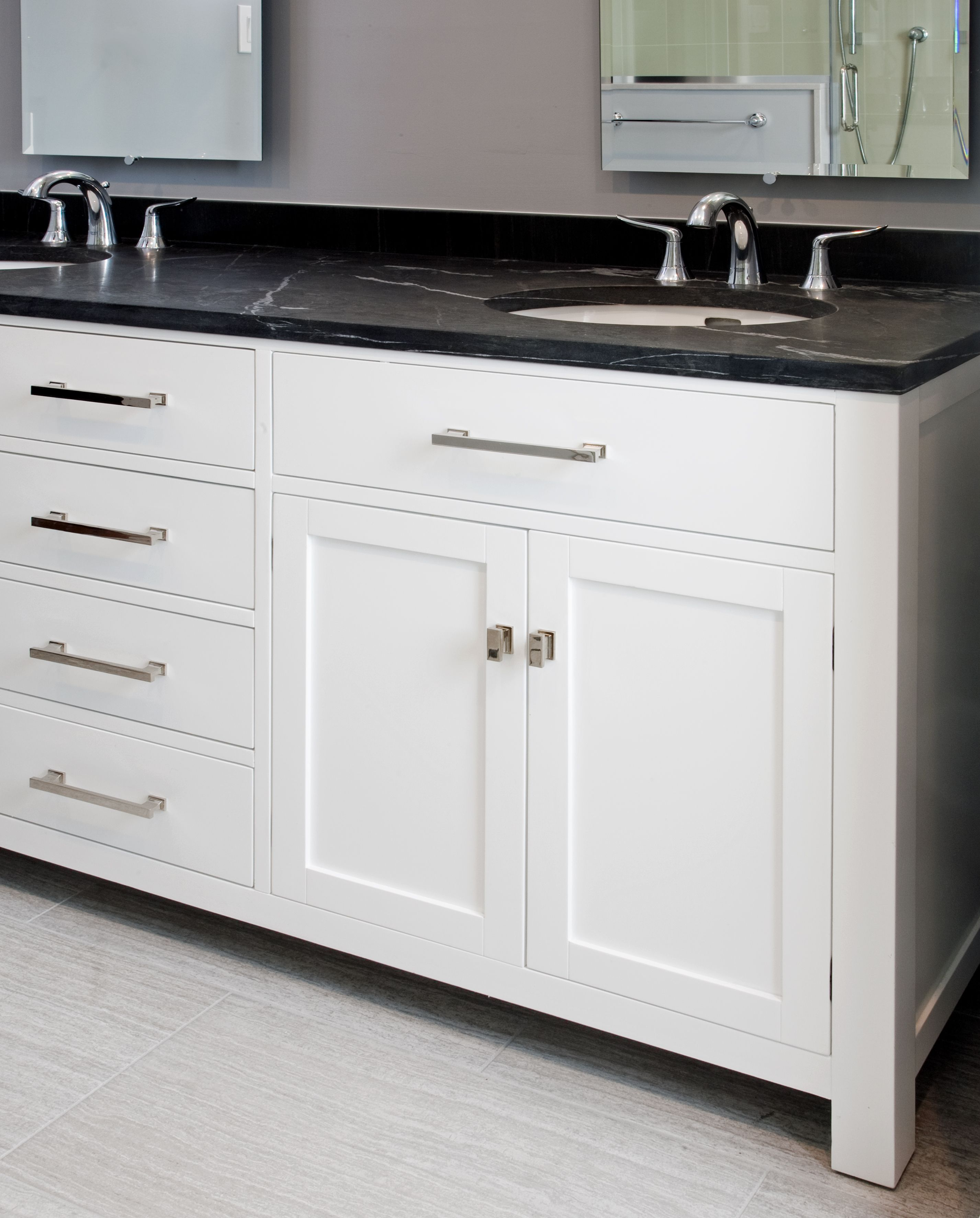 Shaker style vanities bathrooms - The Vanity In This Doylestown Pa Spa Bathroom Features A White Furniture Style Vanity With Shaker Doors And Slab Drawers The Vanity Top Made Of Pietra
