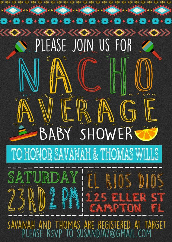 3ac80d3f7d5 Nacho Average Baby Shower Invitation tex mex by Opheliafpg on Etsy Couples  Shower Themes