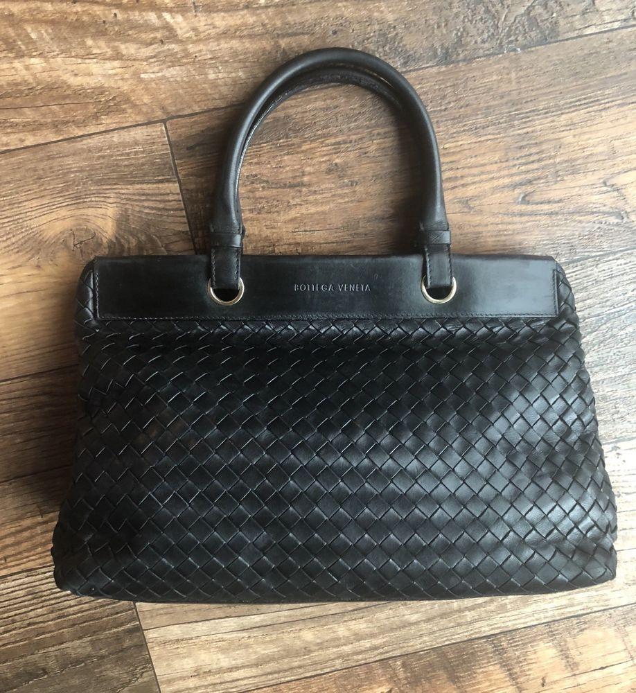 2ee4a8ab7e0c Vintage Bottega Veneta Intrecciato Black Woven Basket Weave Leather Bag  Purse  BottegaVeneta