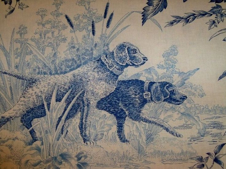 Bird Toile Fabric Brunschwig Fils Birds Dogs Hunt Toile Fabric 10 Y Blue Toile Fabric Bird Dogs Blue Toile