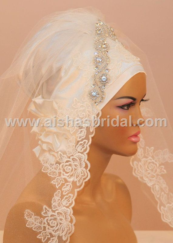 Ready To Wear Bridal Hijab  Code HGT347 by aishasbridal on Etsy, $139.55