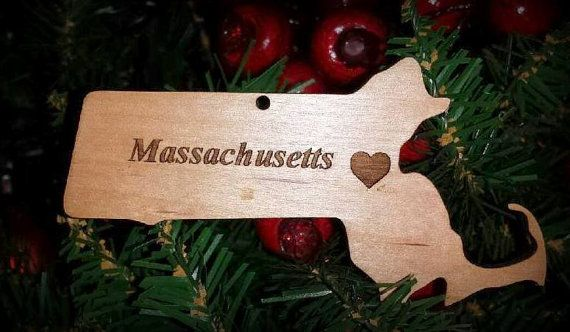 Christmas Ornament Massachusetts State of by BPLaserEngraving Add