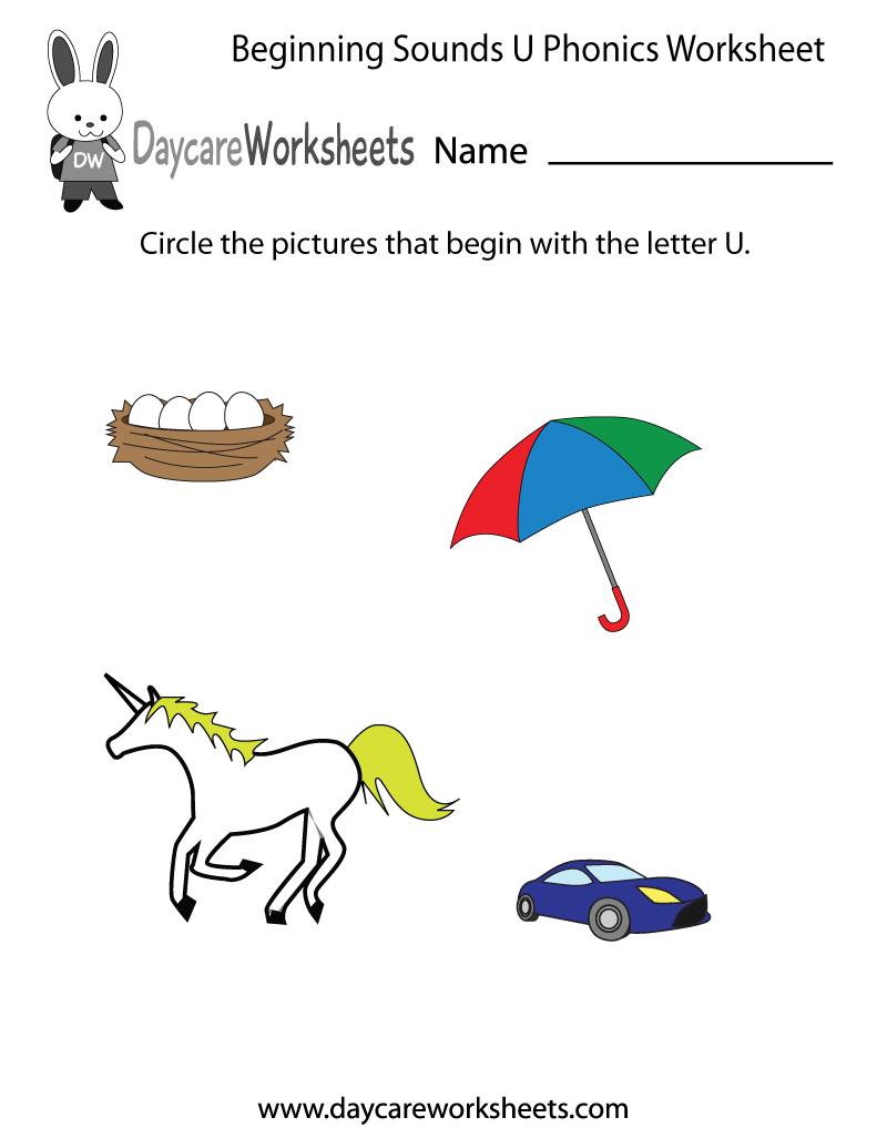This Letter U Phonics Worksheet Helps Preschoolers Identify The