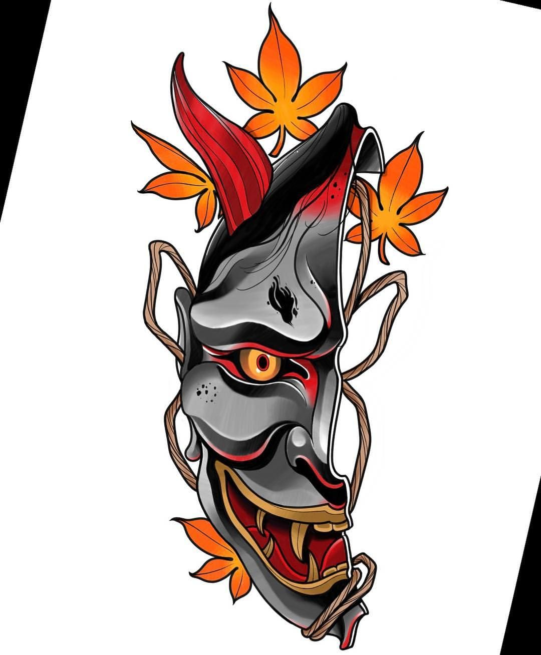 Neotraditional Hanya Mask Japanese Tattoo Japanese Mask Tattoo Hannya Mask Tattoo