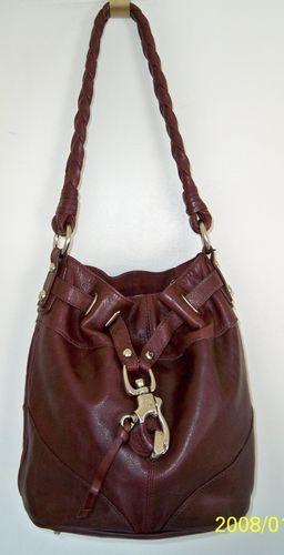 1fbdbc433b Francesco Biasia Burgundy Leather Bucket Bag Purse Shoulder Bag Handbag