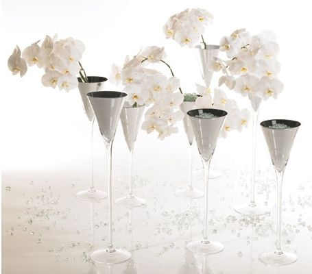 Clean And Elegant Orchids And Tall Martini Glass Vases Wholesale