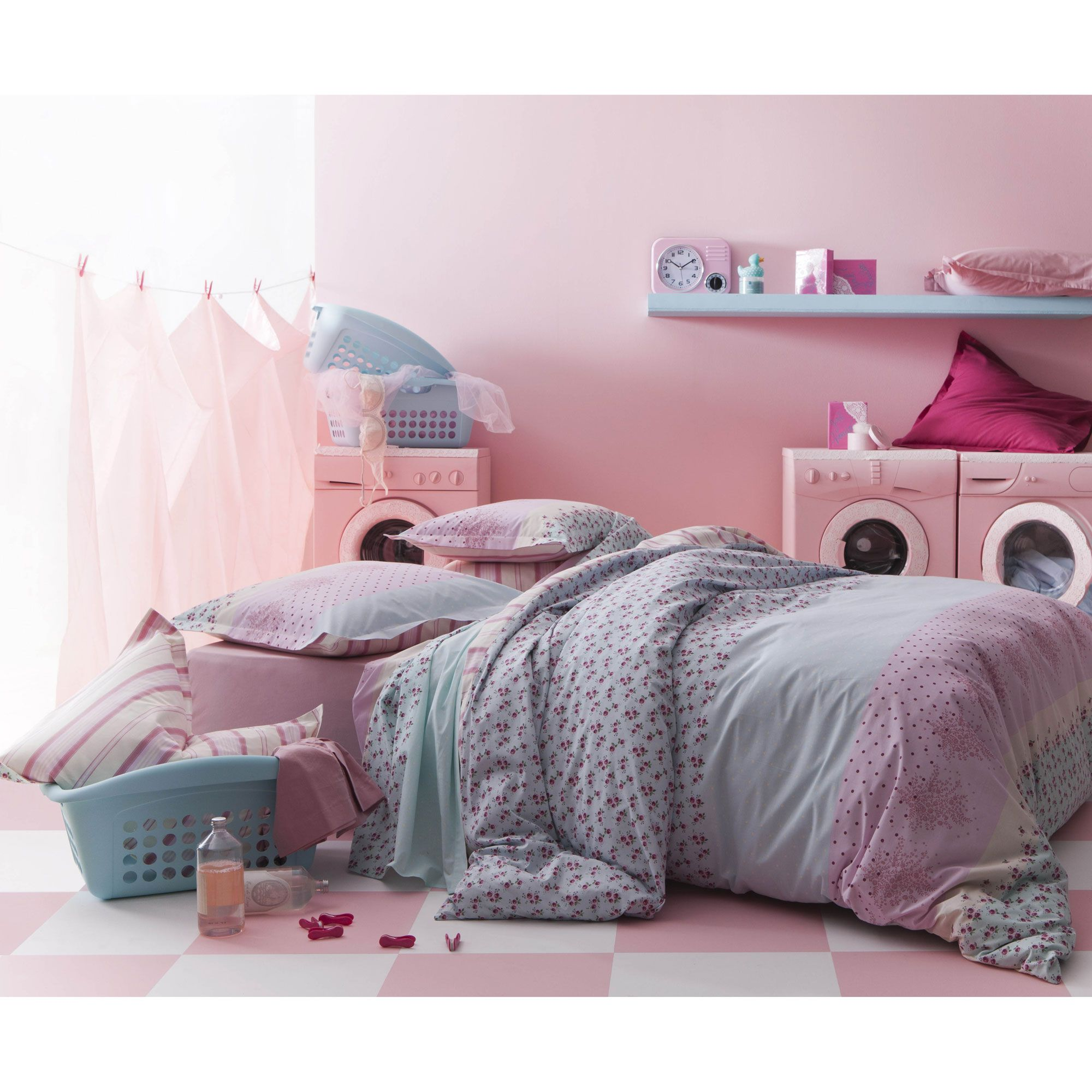 housse de couette 100 coton motifs bleu rose pastels. Black Bedroom Furniture Sets. Home Design Ideas