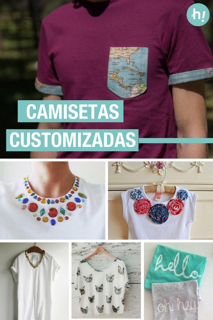 13 ideas para customizar camisetas ➜  Busca camisetas viejas o básicas y dales tu toque. #DIY #Customizar #Ropa #DIY #Handfie