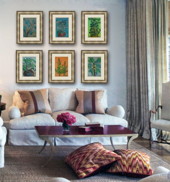 Botanical Wall Art botanical print set, art wall decor teal, kelly green, terracotta