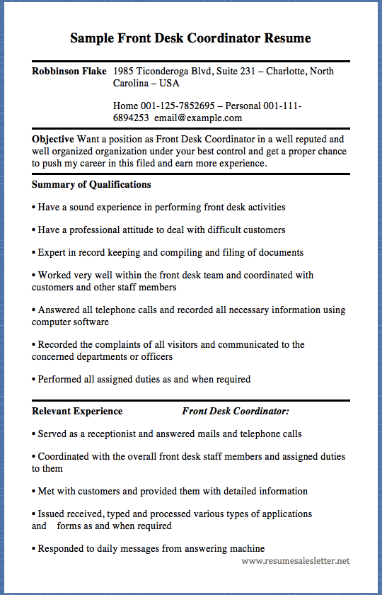 sample front desk coordinator resume robbinson flake 1985