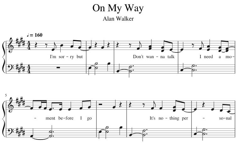 Alan Walker — On My Way Piano Sheet Music PDF   Alan ...