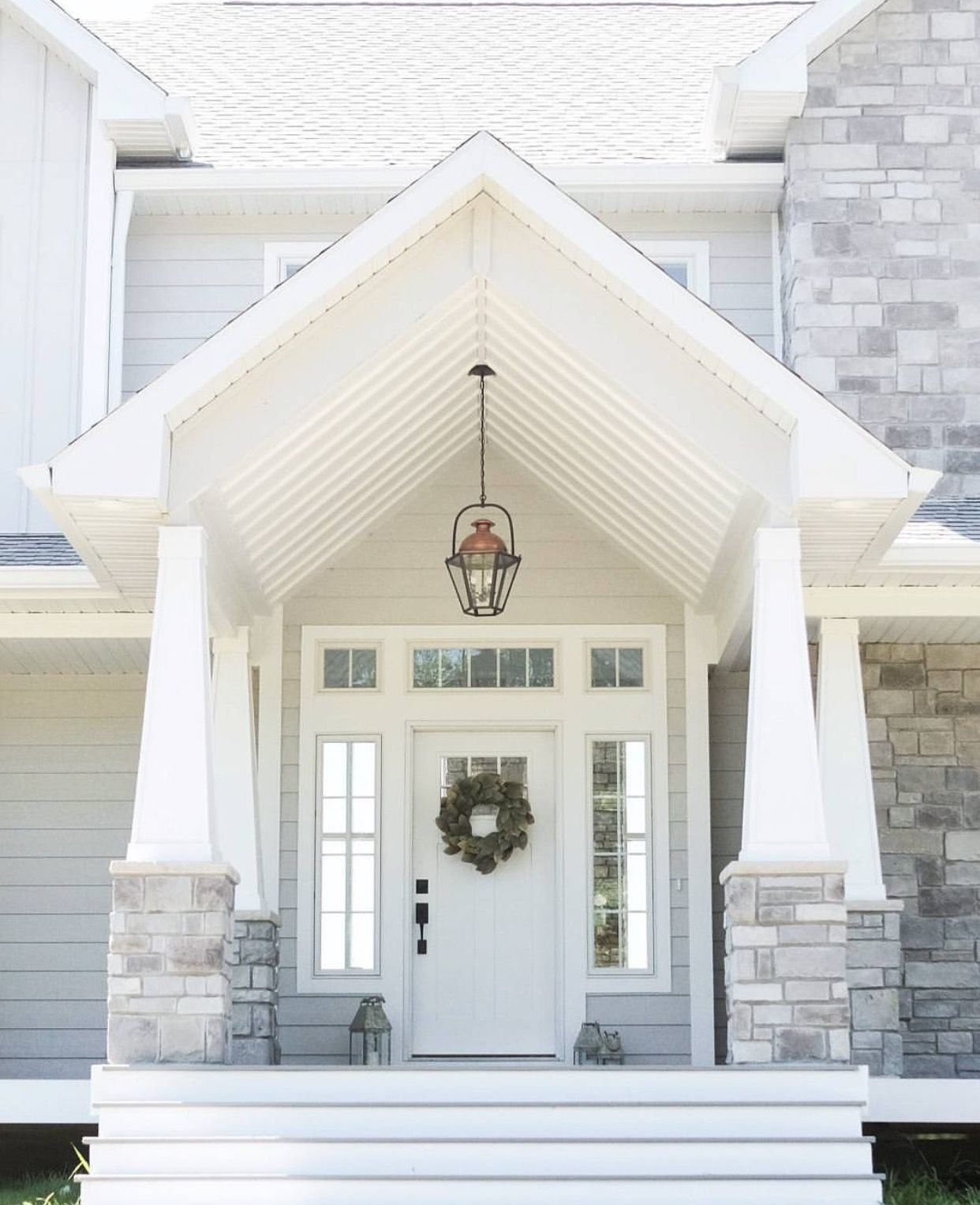 That gorgeous portico and light colors | Chimney and fireplace ...