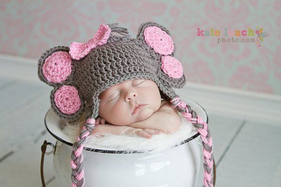 9ed498c3020 Little Miss Elephant Beanie in Gray and Baby Pink Available in Newborn to 5  Years Size- MADE TO ORDE