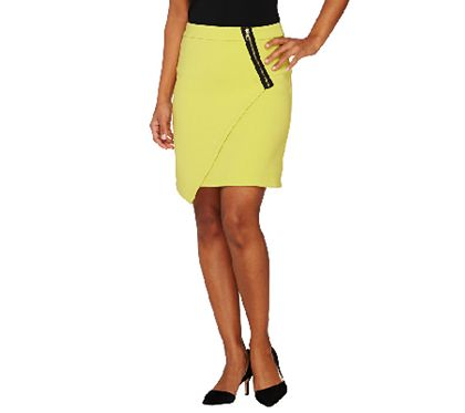 The envelope, please! This above-the-knee envelope skirt from Styled by Joe Zee wins for most wearable interpretation of what's cute and current. The chic asymmetrical hem design spotlights a trendy exposed zipper. From Styled by Joe Zee. QVC.com