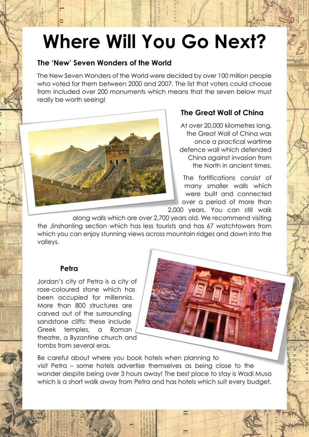 The Seven New Wonders Of The World Brochure Ks2
