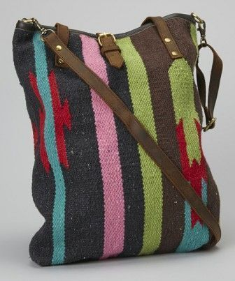 Photo of Cross pattern bag with rug pattern- Cross pattern bag with r…- Cross pattern b…