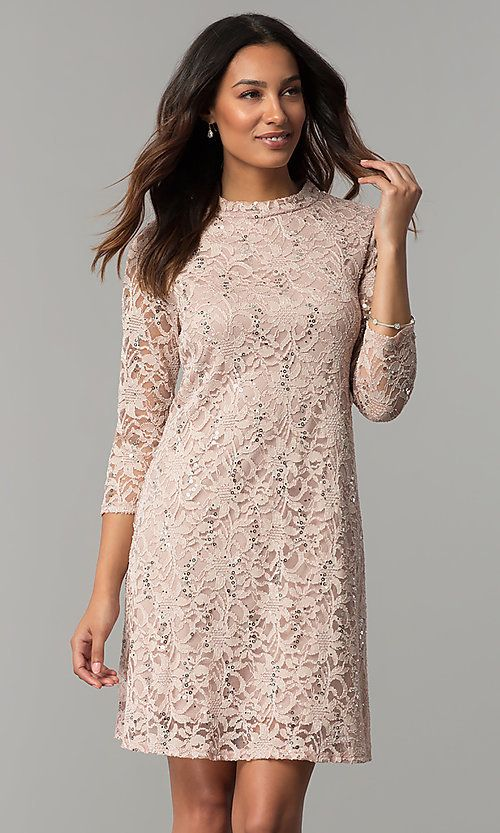 Tiana B Sequined Lace Short Holiday Party Dress Christmas