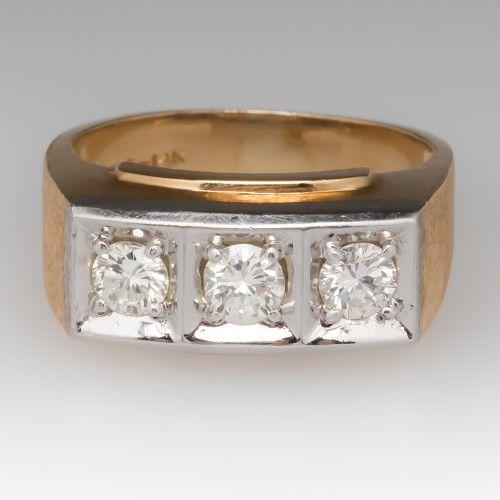 Retro Vintage Mens Diamond Three Stone Wedding Band Ring gents