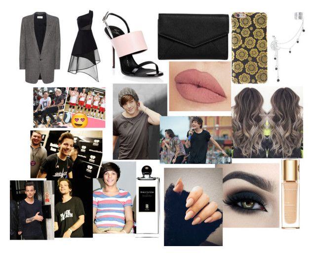 """Award show with Louis"" by larryandtarillforeverr14 ❤ liked on Polyvore featuring David Koma, Giuseppe Zanotti, Yves Saint Laurent, LULUS, Clarins, NYX and Serge Lutens"