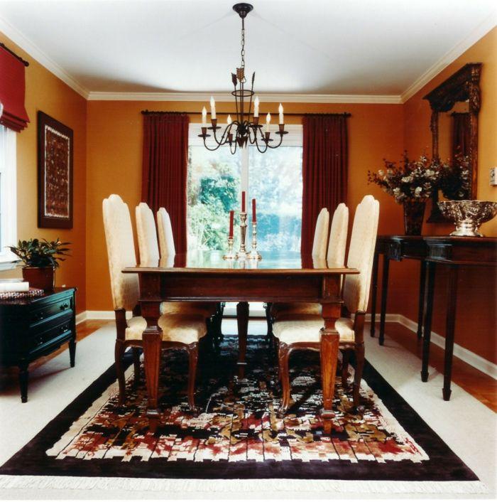 wandgestaltung esszimmer frische orange wandfarbe teppich