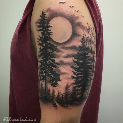 152a50c5a0323 Work in progress black and grey forest nature scene trees, moon, sky tattoo  by Jose Bolorin.