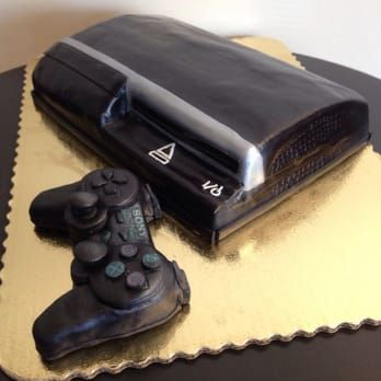 Playstation 3 cake with rice Krispy treat controller ...